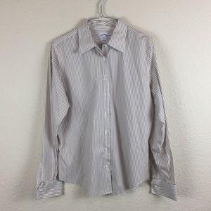 White/Brown Stripe Semi-Fitted Button Up Shirt